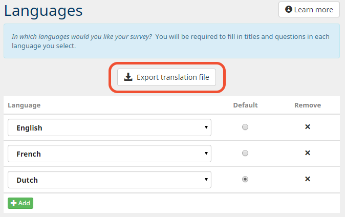 export translation file button